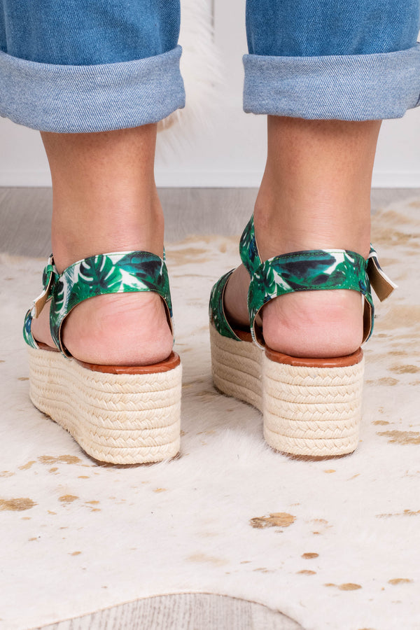 sandals, platforms, crisscross foot straps, open toe, open heel, green, white, tropical print