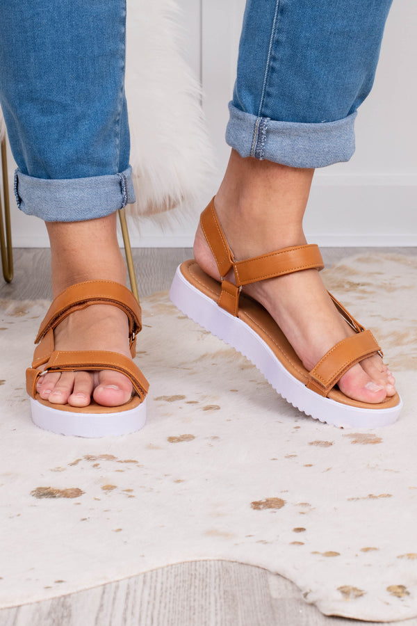 sandals, platform, open toed, open heel, white heel, brown straps, faux leather