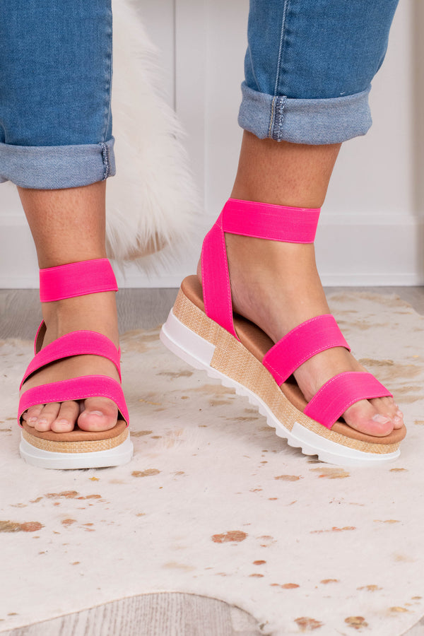 wedges, sandals, platform, open toe, open heel, double foot strap, ankle strap, pink
