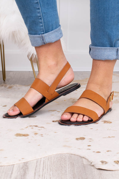 shoes, sandals, brown, strapy, gold accent, strap around the heel
