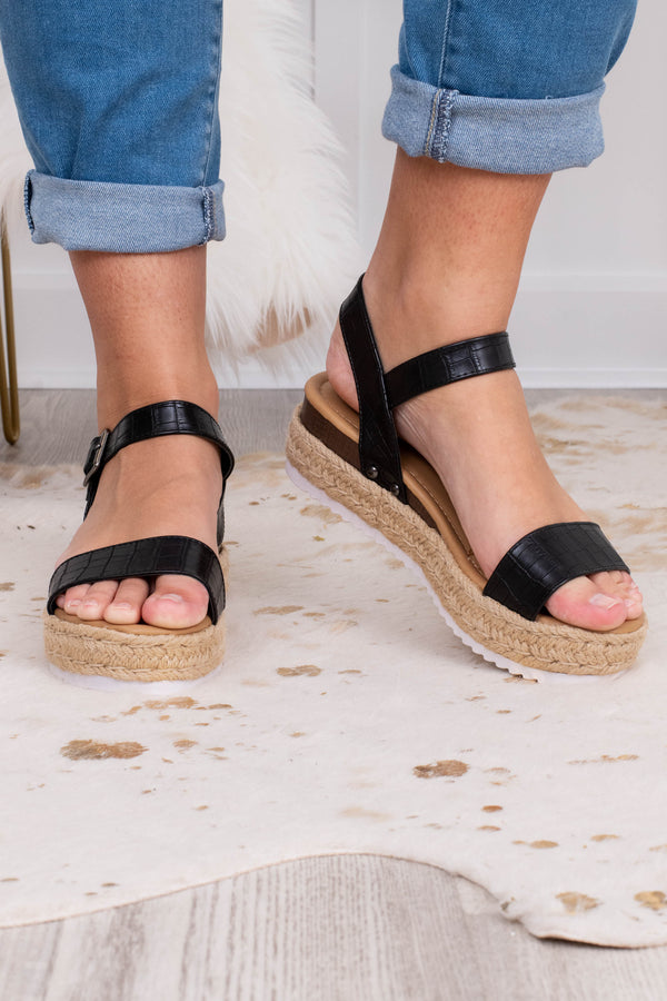 sandals, platform, open toed, open heel, espadrille sole, black, faux leather