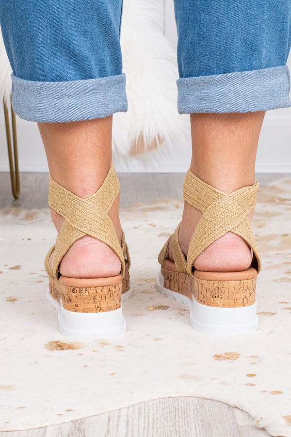 wedges, platform, strappy, cork heel, white sole, open toed, open heel, two across foot straps, ankle strap, burlap, tan, spring, summer