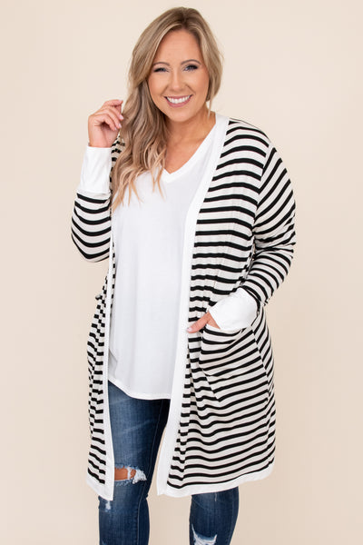 top, cardigan, white, black, striped, long sleeve