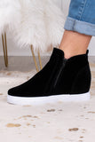sneakers, wedges, zip up side, white sole, black