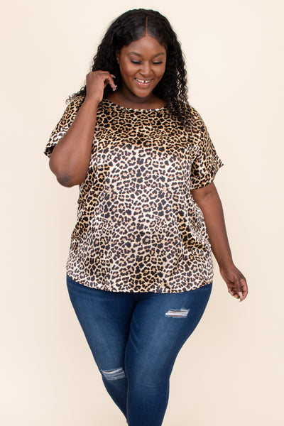 top, tunic, brown, leopard, short sleeve, cute