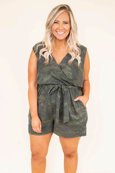 romper, camo, tie waist, pockets, v neck, shorts, green