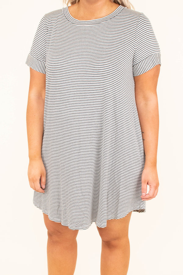 Last Minute Vacay Dress, Charcoal-Ivory