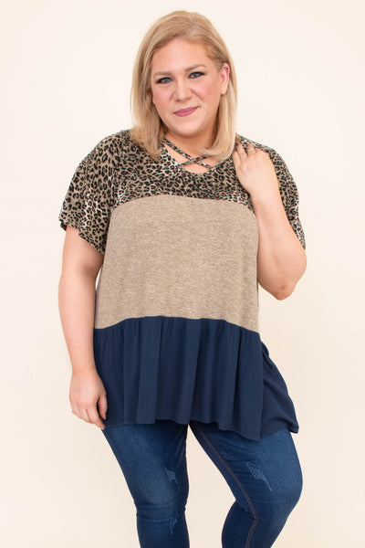 shirt, short sleeve, crisscross neckline, tiered, flowy, leopard, taupe, navy, colorblock, comfy