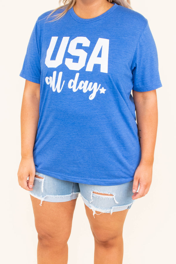 Living In America Tee, Royal