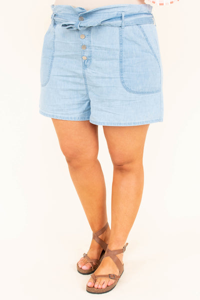 Denim Delight Shorts, Light Wash