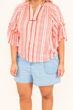 blouse, short sleeve, ruffle neckline, tie neckline, short, curved hem, ruffle sleeves, orange, white, striped, comfy