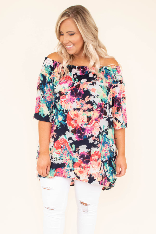 top, tunic, multi, off the shoulder, short sleeve, flowy