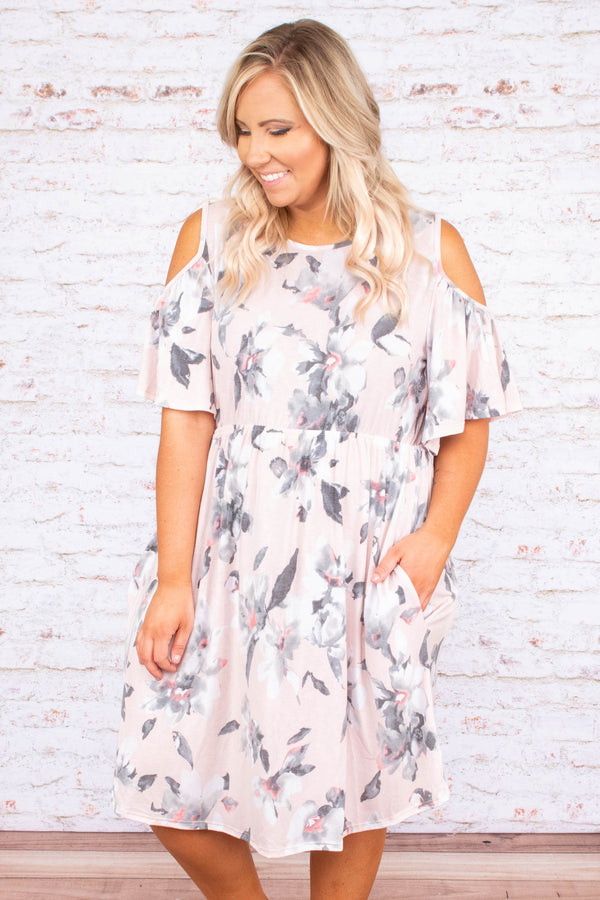 dress, midi, short sleeve, cold shoulder, fitted waist, flowy, blush, gray, white, floral, spring, summer