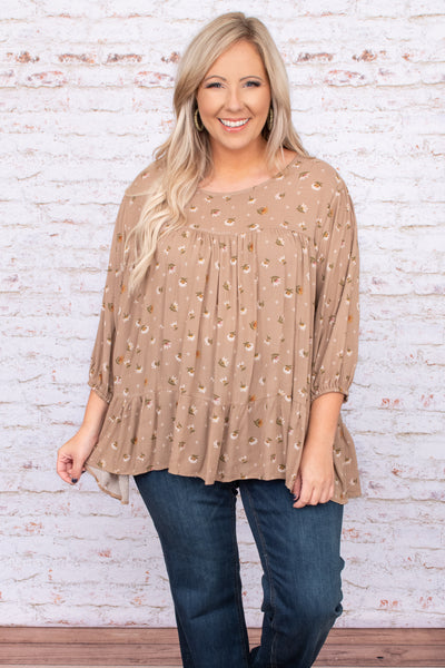 floral, top, taupe, balloon sleeves, flowy fit, round neck, tiered, neutral, figure flattering