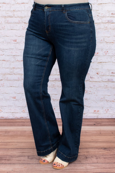dark wash, jeans, bottoms, long, figure flattering, pockets, solid, wide leg