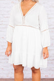 dress, short, three quarter sleeve, vneck, stitched detail, flowy, white, solid, comfy, spring, summer