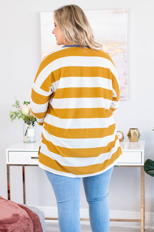 shirt, three quarter sleeve, chest pocket, long, loose, mustard, white, stripes, blue details, comfy