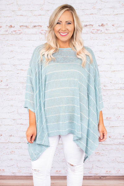 top, tunic, striped, asymmetrical hemline, light, flowy, flattering, sage