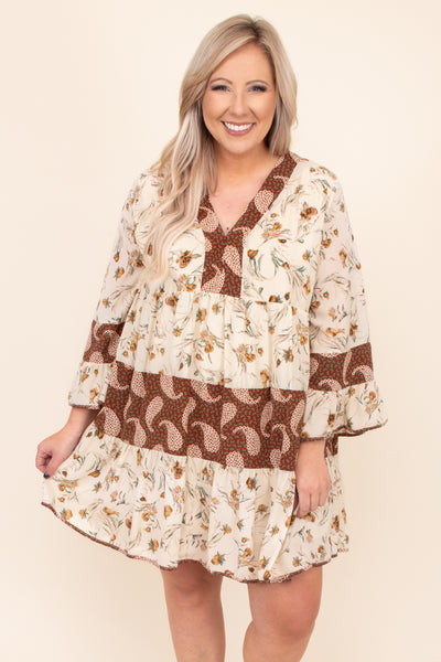 neutral, patterns, dress, tiered, neutral, printed, flowy, figure flattering, short, above the knee, v neck, long sleeve, wide sleeves