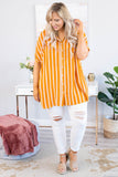 blouse, short sleeve, cuffed sleeves, collared, vneck, button down, long, flowy, orange, white, striped, comfy