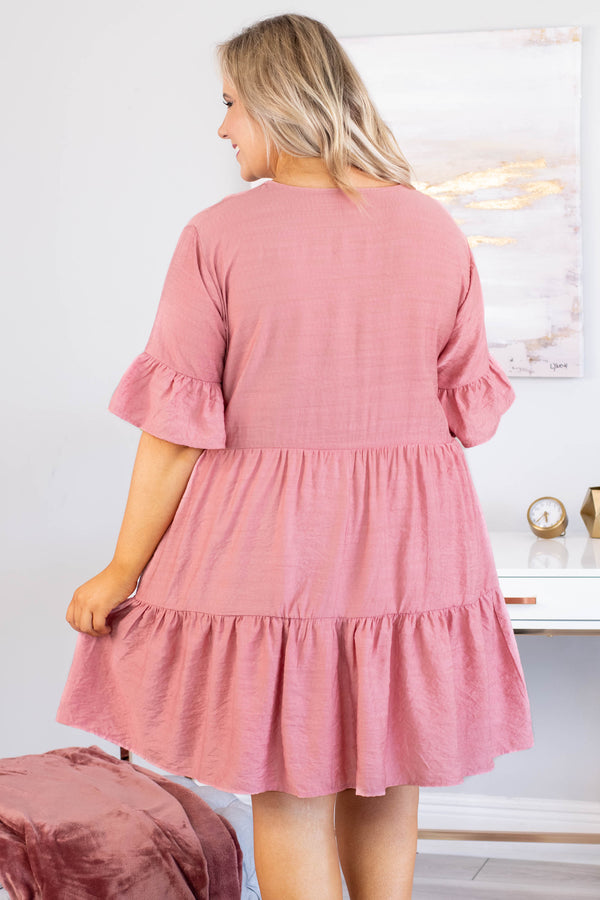 dress, short, short sleeve, vneck, ruffle sleeves, babydoll, tiered, flowy, pink, comfy, spring, summer