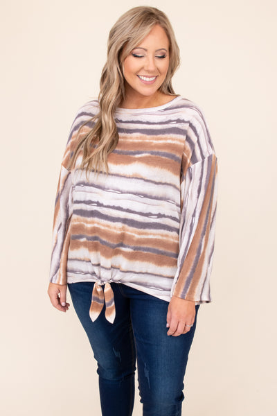 top, casual top, orange, rust, striped, tie dye, long sleeve, tie top, casual, flattering, warm