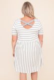 stripes, dress, short sleeve, above the knee, short, baby doll, round neck, ivory, grey, flowy