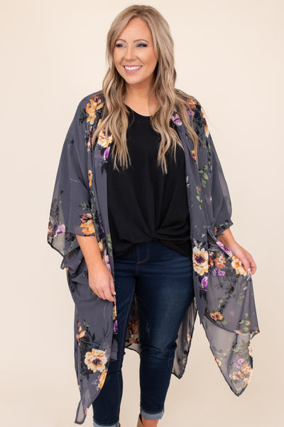 top, kimono, gray, floral, half sleeve, sheer, flowy, layering, purple, pink