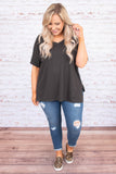 shirt, short sleeve, vneck, side slits, flowy, gray, comfy, cuffed sleeve