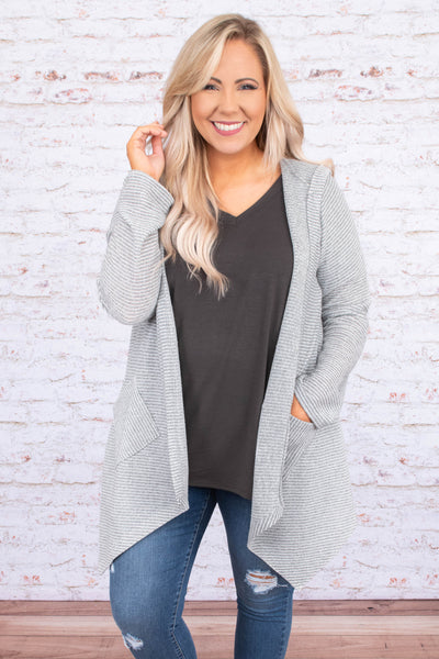 cardigan, long sleeve, long, asymmetrical hem, pockets, hood, gray, white, striped, comfy, outerwear