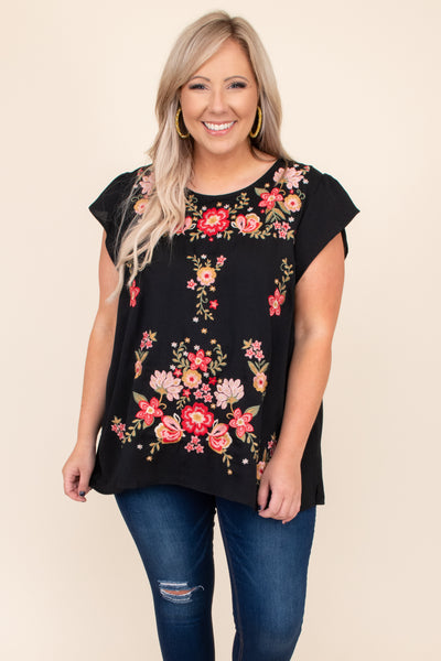 top, black, embroidery, colorful, short sleeve, round neck, figure flattering, detail