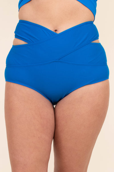 swimsuit, bottom, high waist, v waistline, side cutouts, blue