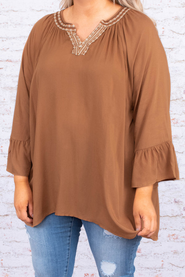 shirt, three quarter sleeve, vneck, ruffle cuffs, flowy, long, embroidered neckline, camel, comfy, fall, winter