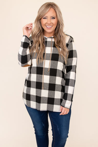 top, hoodie, pullover, black, plaid, elbow patch, long sleeve, ivory, drawstring, comfy
