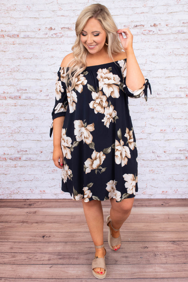 dress, short, three quarter sleeve, tie sleeves, off the shoulder, loose, navy, floral, white, taupe, green, comfy