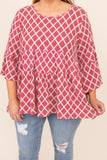 top, casual top, babydoll top, red, damask, long sleeve, babydoll top, white, ruffle