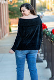 sweater, long sleeve, off the shoulder, fold over neckline, short, chenille, black, comfy, fall, winter