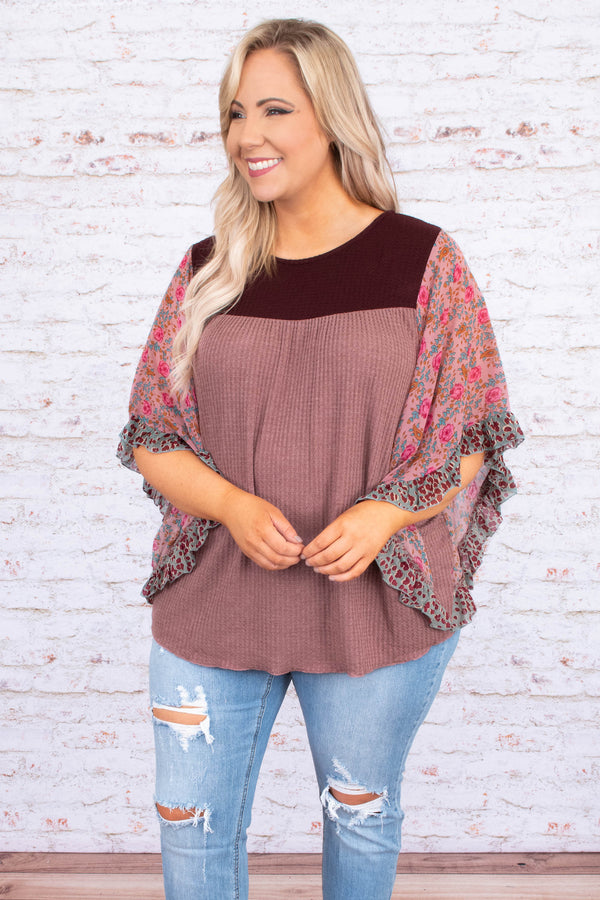 shirt, three quarter sleeve, bell sleeves, surved hem, waffle knit, mauve, floral sleeves, maroon, pink, gray, comfy