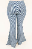 jeans, long, bell bottoms, white, navy, striped, high waist