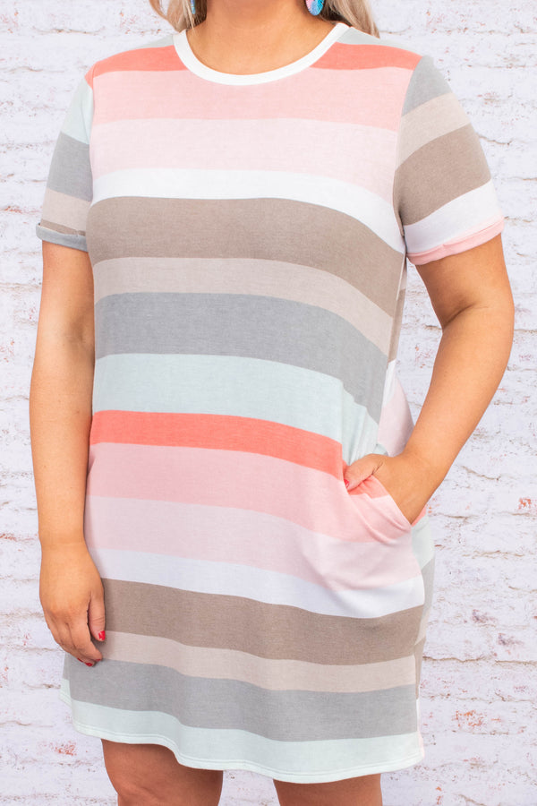 dress, short, short sleeve, pockets, loose, green, gray, brown, white, pink, coral, striped, comfy