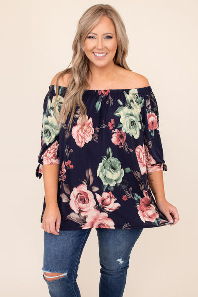 top, casual top, blue, navy, floral, half sleeve, off the shoulder, pink, green