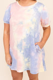 comfy, figure flattering, short sleeves, dress, above the knee, tellow, pink, purple, tie dye, figure flattering, round neck, comfy