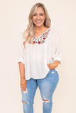 blouse, three quarter sleeve, vneck, flowy, bubble sleeves, white, embroidered neckline, red, green, pink, comfy, spring, summer