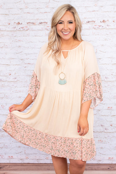 dress, short, three quarter sleeve, vneck cutout, flowy sleeves, babydoll, flowy, oatmeal, floral hems, pink, green, white, comfy