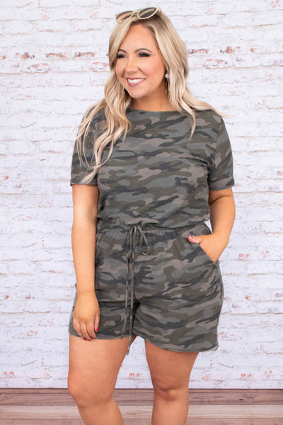 romper, shorts, short sleeve, drawstring waist, pockets, green, camo, comfy