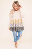 shirt, long sleeve, long, babydoll, tiered, flowy, white, floral, mustard, purple, black, colorblock, comfy