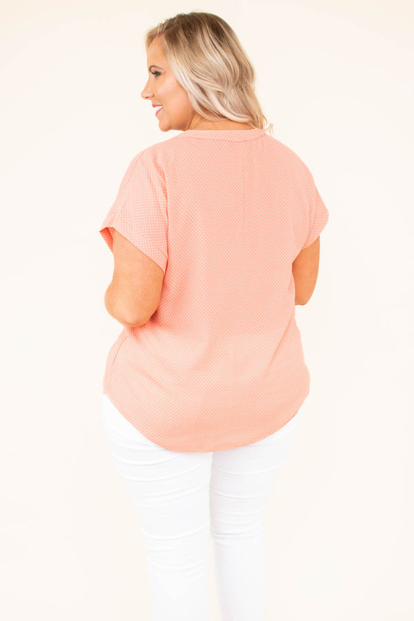 top, coral, short sleeve, button down, polka dot, collared