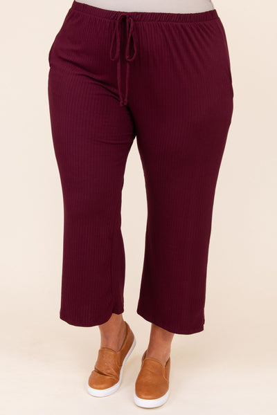 bottoms, lounge pants, red, solid, capri, ribbed, comfy, pajama set, burgundy
