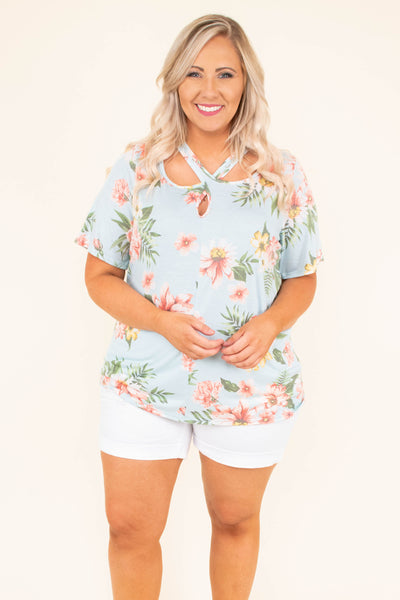 top, short sleeve, blue, criss cross neck, flowy, pink floral