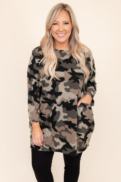 tunic, camo, pockets, olive, taupe, black, long, long sleeve, above the knee, print, neutral